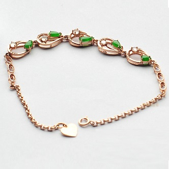 Rose Gold Inlaid Icy Jadeite Bracelet